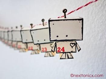 homemade advent calendar ideas free printable mini paper robot advent calendar idea