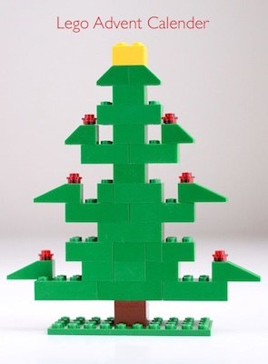 homemade Lego Christmas tree advent calendar idea with free printable directions
