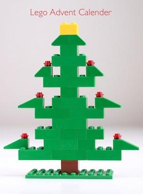 homemade Lego Christmas tree advent calendar idea with free printable directions