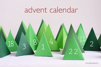 pyramid trees paper forest advent calendar free printable