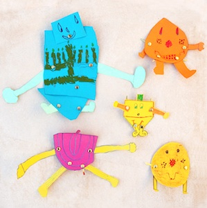 Creative Jewish Mom dancing hanukkah characters paper craft