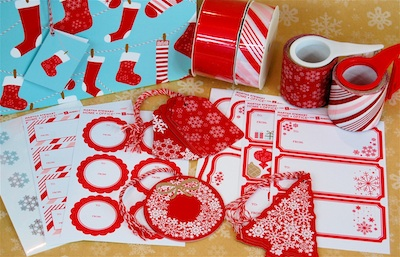 Martha Stewart Home Office wrapping paper and tags 2