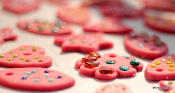 pink salt dough ornaments decorated with beads