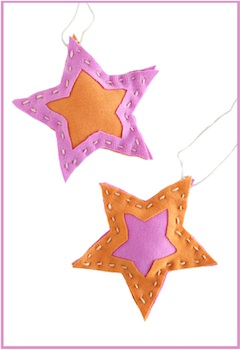 t-shirt upcycled into a star ornament