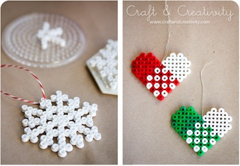 hama perler melty bead ornaments