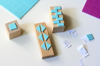 geometric stamps made from craft foam