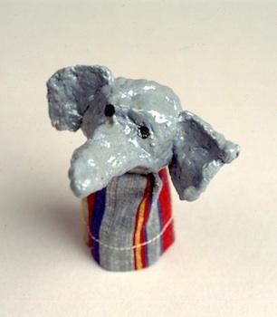 papier mâché finger puppets elephants