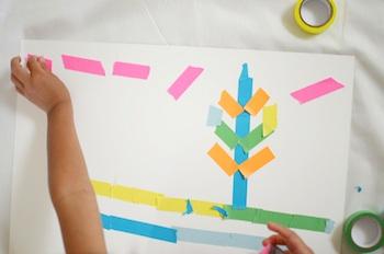 colored tape art