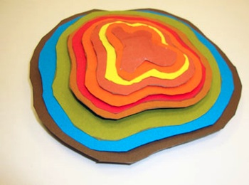 topographic paper sculpture art project top view