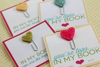 Thirty Handmade Days valentine card heart bookmark