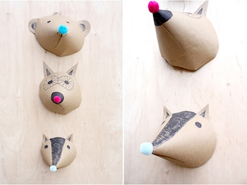 animal heads made from paper cones and pompoms