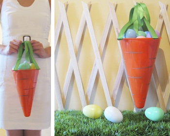 carrot easter basket made from upside down orange traffic cone