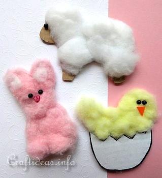 Craft Ideas easter craft for preschoolers soft cotton ball animals