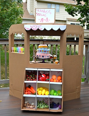 cardboard box craft recycled box grocery stand