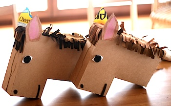 cardboard box craft cheerios box horse heads