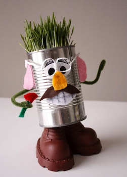 tin can craft tin can man with growing grass hair