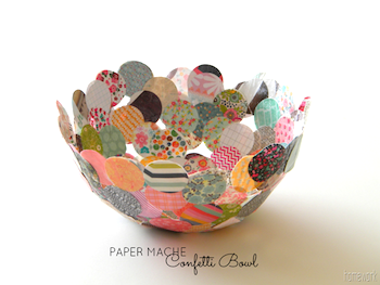 recycled papier mache confetti bowl