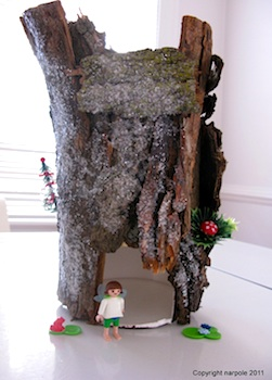 oatmeal box craft fairy house with tree bark
