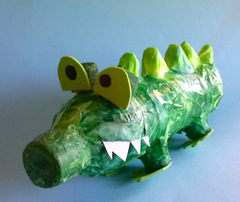 plastic bottle craft crocodiles