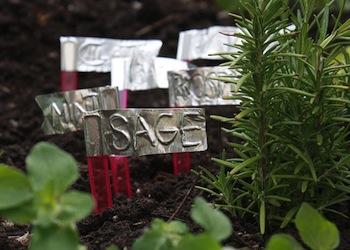 Aunt Peaches aluminum tape garden markers