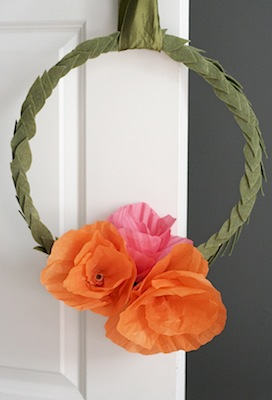 mother's day craft easy paper flower and felt wreath
