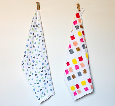 painted tea towels craft for Mother's Day homemade gifts