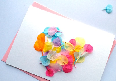 tissue paper petal cards homemade Mother's Day card