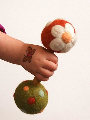 Daisy Felted Wool Baby Rattle Eco Friendly Natural by Sqrl & Bee