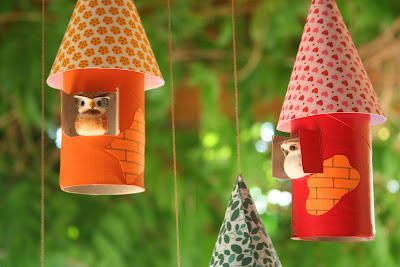 toilet paper roll craft bird houses
