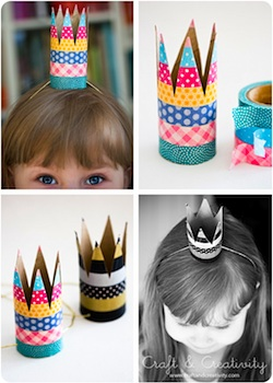toilet paper roll craft party crowns with washi tape