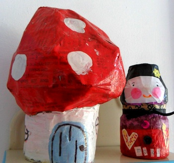 recycled plastic  mushroom house and doll