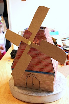 cardboard craft windmill diy tutorial