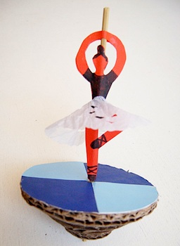 cardboard craft spinning dancer homemade toy