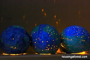 earth day craft for kids papier mache light up globes