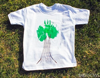 earth day craft t-shirt handprint tree
