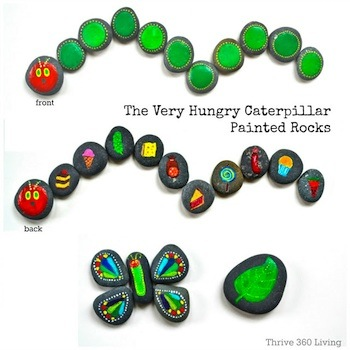 the very hungry caterpillar painted on river rocks