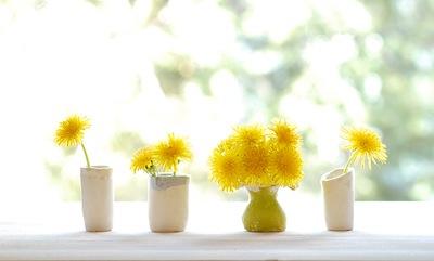 mother's day craft dandelion mini clay vases