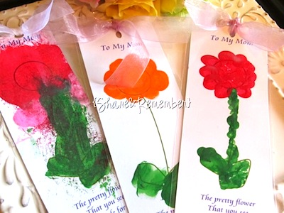 mother's day craft fingerprint flower bookmarks