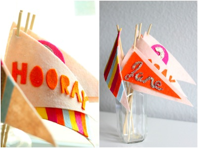 party craft decoration idea felt no-sew flags