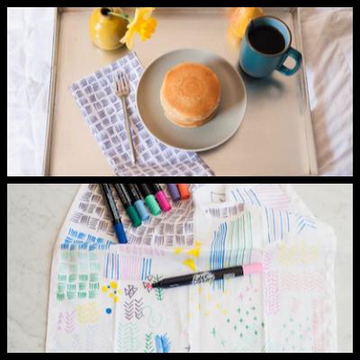 hand drawn diy napkins