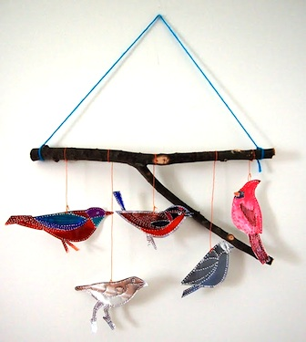 punched tin bird mobile craft diy