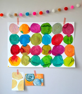 watercolor circles art lesson for kids