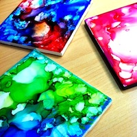 sharpie alcohol inks on ceramic tiles