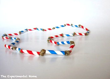 red white blue straw bead necklace