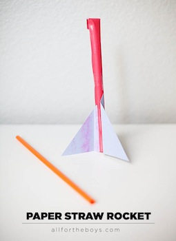 paper straw rockets 4th of july craft and activity