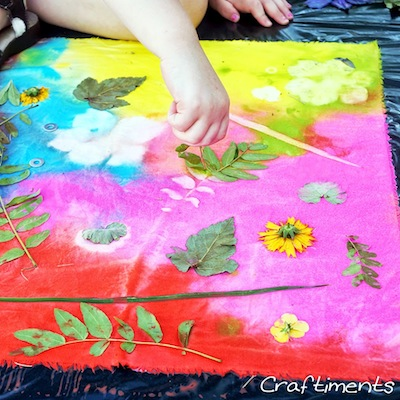 Craftiments acrylic paint sun prints on fabric