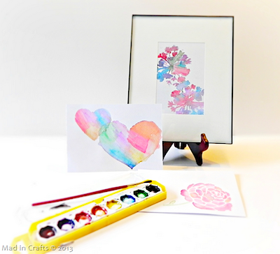 stenciled watercolors technique for art or handmade cards