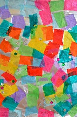 tissue paper on foil collage art for kids