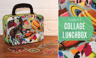 collaged lunch box for back to school idea