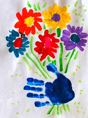 Mother S Day Idea Handprint Flower Bouquet Art Things To Make And